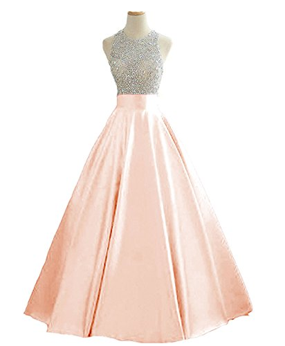 HEIMO Women's Sequins Keyhole Back Evening Ball Gown Beaded Prom Formal Dresses Long H095 18W Blush