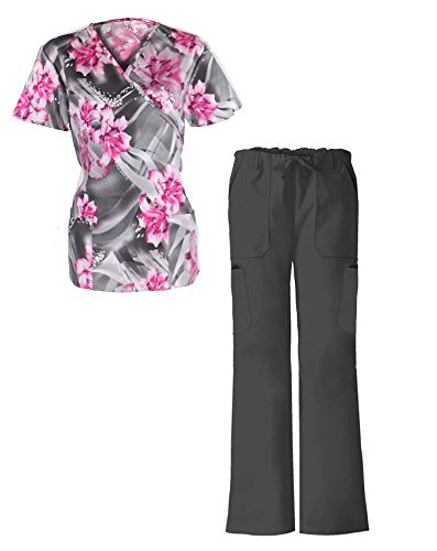 G Med Women's Printed Scrub Mock Wrap Top with Bow Tie and Pant Set 2 Pieces Set(SET-MED,GRYA2-XL)