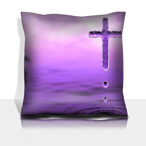 MSD Throw Pillowcase Polyester Satin Comfortable Decorative Soft Pillow Covers Protector sofa 16x16, 1pack IMAGE 35405800 Holy Cross christian symbol of Holy Water in violet clouds by MSD