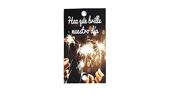Tarjetas para bengalas, Haz que brille nuestro día, para tus invitados de boda (texto en español): Amazon.es: Hogar