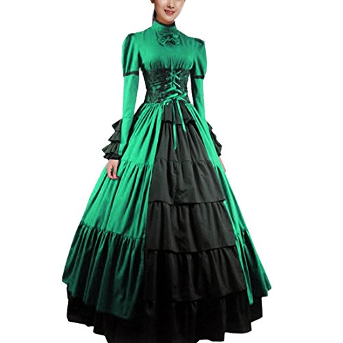 Partiss Women Bowknot Stand Collar Gothic Victorian Dress Costumes,M,Green