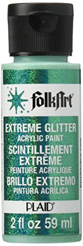 FolkArt Extreme Glitter Acrylic Paint in Assorted Colors (2 oz), 2794, Emerald Green (Best Emerald Green Paint Colors)