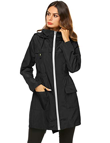 ight Raincoat Waterproof Trench Coat Windbreaker Hiking Rain Jacket Breathable Summer Coat Black with White Zipper S ()