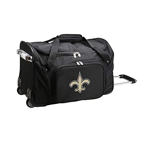 NFL New Orleans Saints Wheeled Duffle Bag, 22 x 12 x 5.5, Black - New Orleans Saints Bag