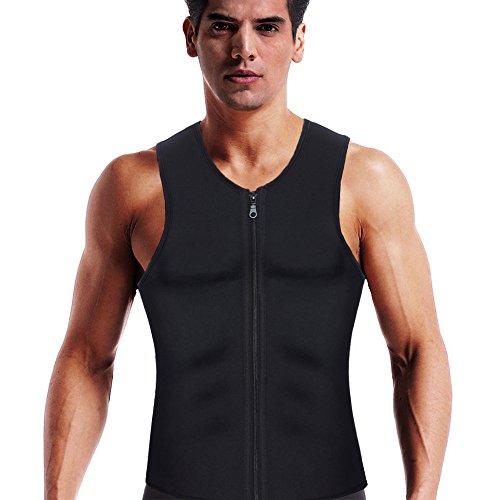 Mens Body Shaper Slimming Zipper Vest for Weight Loss Workout Hot Sauna Sweat Tank Top Neoprene Long Torso