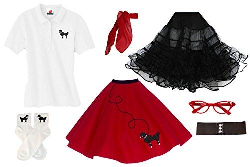 Hip Hop 50s Shop Adult 7 Piece Poodle Skirt Costume Set Red Medium (50's Red Poodle)