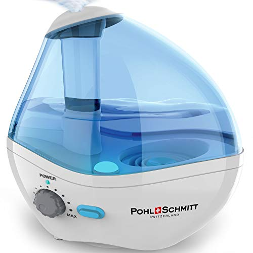 Ultrasonic Humidifier for Bedrooms, Whisper-Quiet Operation with Nightlight and Auto-Shut Off, Adjustable Mist, 16 hours Operating Time by Pohl+Schmitt