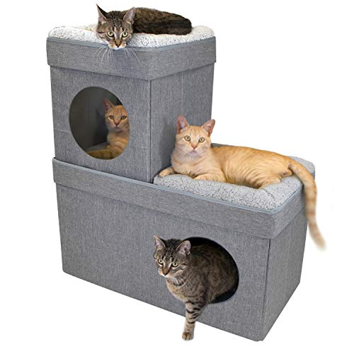 Kitty City Large Stackable Cat Condo, Cat Cube, Cat House, Pop Up Bed, Cat Ottoman (Ottoman Stackable)