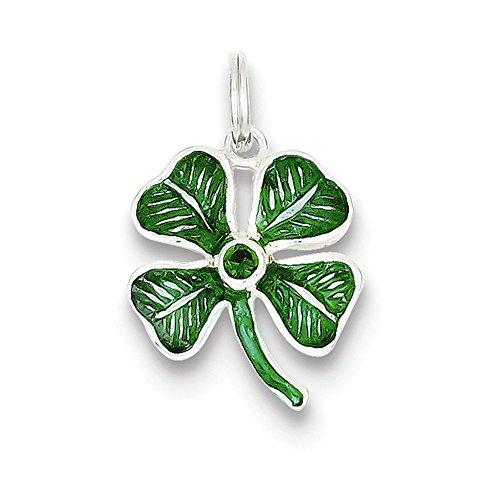 Leaf Sterling Glass Charm Silver (Jewelry Adviser Charms Sterling Silver Enameled 4-Leaf Clover with Green Glass Stone Charm)