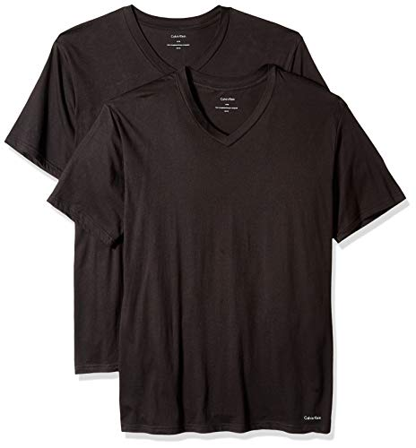 Calvin Klein Men's Size Big and Tall Cotton Classics 2 Pack V Neck Tshirts, Black, X-Large Tall