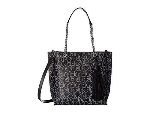 Calvin Klein Women's Signature Top Zip Chain Tote Black/White One Size