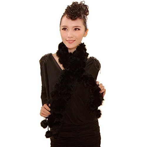 Binmer(TM)Women Winter Rabbit Fur Scarf Lady Casual Fur Scarves Fur Ball Velvet Scarf (Black)