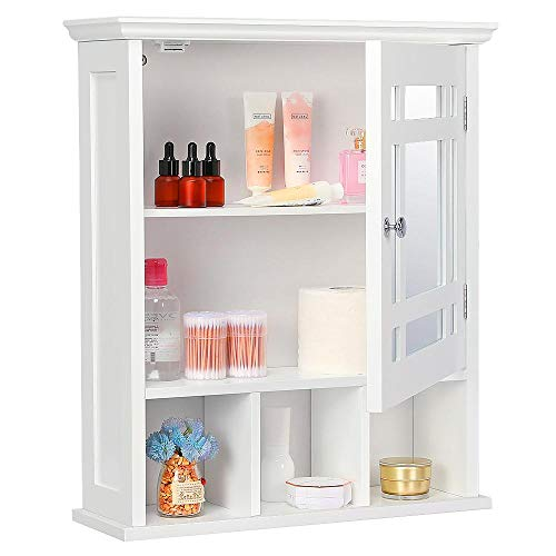 Yaheetech Bathroom Cabinet Organizer Wall-Mounted - Wooden Medicine Cabinet Storage with Mirror Doors Adjustable Shelf White ()