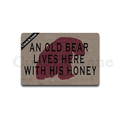 - Tdou an Old Bear Lives Here with His Honey Doormat Entrance Floor Mat Funny Doormat Door Mat Decorative Indoor Outdoor Doormat 23.6 by 15.7 Inch