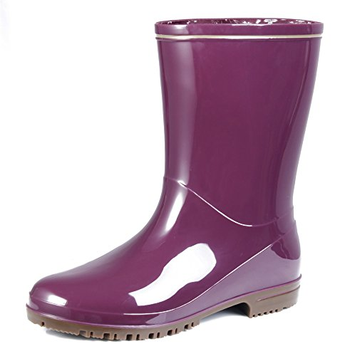 Closed Rubber Shoes Toe Waterproof AgeeMi Boots Rain Ladies Skid Boots Mid Top qTRaw4AE