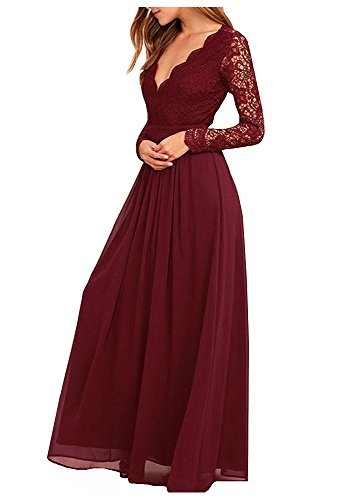 Suzy Bridal Women's Chiffon Lace top Long Sleeves Open Back Bridesmaid Dress(Maroon -