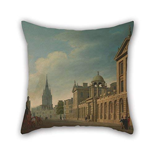 Thomas Malton The Younger - High Street, Oxford Pillowcase,Best for Pub,Bedroom,Father,Kids Girls,Shop,Dance Room 18 x 18 inches / 45 by 45 cm(Each Side) ()