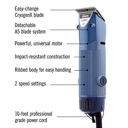 Oster Professional Turbo A5 Heavy Duty Animal Grooming Clippers with Detachable CryogenX #10 Blade,...