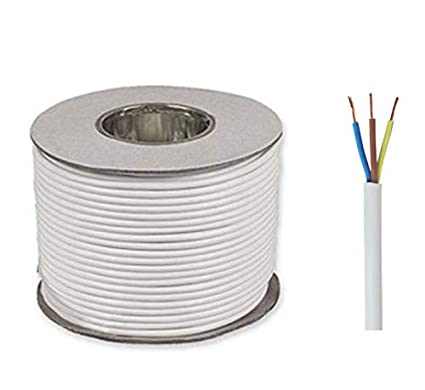 White 3183Y 3 Core 0.75mm 6 Amp PVC Flexible Cable Cut To Length Flex 50 Meters