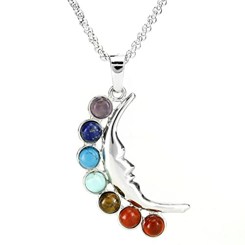 BEADNOVA 7 Chakras Healing Pointed Crystal Chakra Reiki Goddess of the Moon Gemstones Pendent Necklace with 18