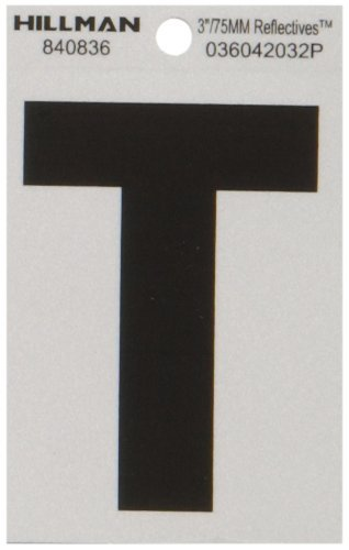 The Hillman Group 840836 3-Inch Letter T Reflective Square-Cut Mylar, Black on Silver by The Hillman Group