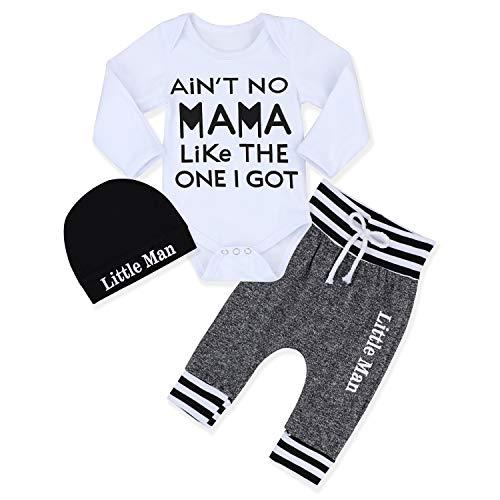 Newborn Baby Boy Clothes Outfit Hipster Bowtie Strap Short Sleeve Bodysuit + Moustache Pants + Hat 3Pcs Outfits Set
