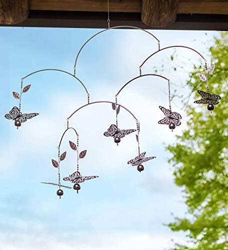 Plow & Hearth Metal Butterfly Mobile Wind Chime - 37.5 L x 4 W x 30 H - Copper