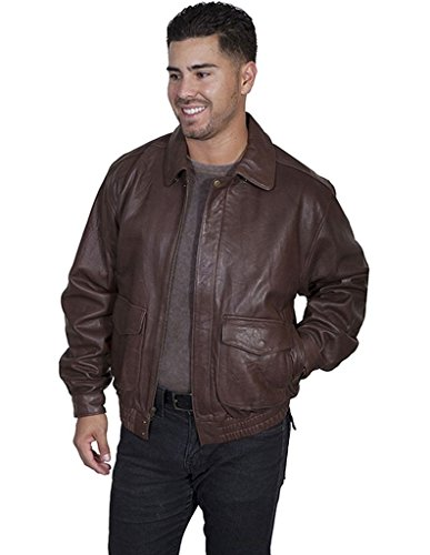 Scully Men's Rugged Lambskin Leather Jacket Dark Brown Me...