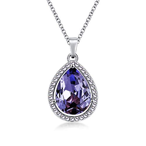 LEECCO Pricess Sophia Ncklace Teardrop Amethyst Pendant Necklace Fashion Jewelry Gift for Girls