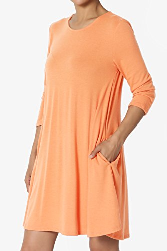 3 4 Basic S~XL Pocket Tunic Sleeve Peach 3 Top Swing 4 TheMogan Flared Dress Longline gq7xwOwA