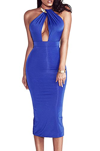 Sunfury Sexy Off Shoulder Dresses For Women Formal Backless Sleeveless Dress Clubwear Blue Large (Dress Sexy Cocktail Evening)