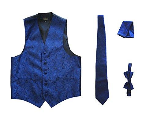 Amanti - Men's 4pc Set Paisley Tuxedo Vest Vest / Tie / Hanky / Bow Tie (Large (Chest:42