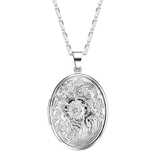 JuJubak Sterling Silver Oval Hand-Engraved Photo Picture Locket Pendant Necklace Platinum/18K Gold Plated Vintage Personalized