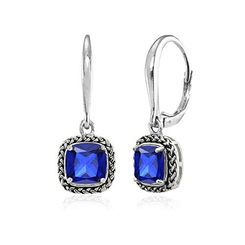 Sterling Silver Created Blue Sapphire Cushion-Cut 7mm Oxidized Braid Dangle Leverback Earrings (Sapphire Cut Earrings Dangling)