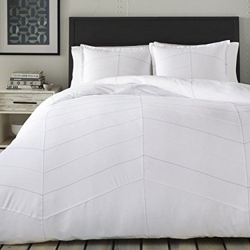 City Scene Courtney Duvet Cover Set, King, White -