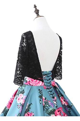 Promgirl House Damen Blumen bedruckt Spitze A-Linie Abendkleider Ballkleider Hochzeitskleider Lang mit Aermel