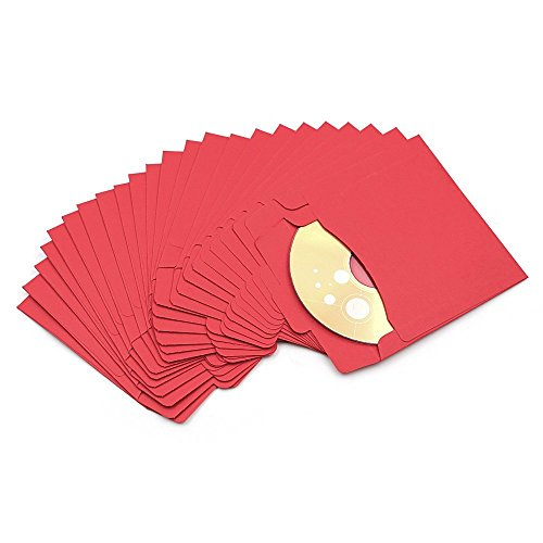Fundas de papel para CD y DVD, con soporte para CD y DVD, Rojo, 10Pcs