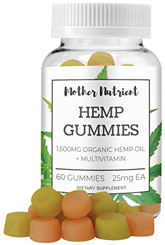 Hemp Gummies by Mother Nutrient | 1,500 MG of Hemp Oil | 60 Gummy Bears w/ 25 MG per Gummy | Multi-Vitamin Gummies with Hemp Oil for Pain and Anxiety Relief, Vitamins for Overall Health | THC Free