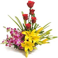 Floralbay Basket Arrangement of 11 Red Roses, Yellow Asiatic Lilies and Purple Orchids Fresh Flowers