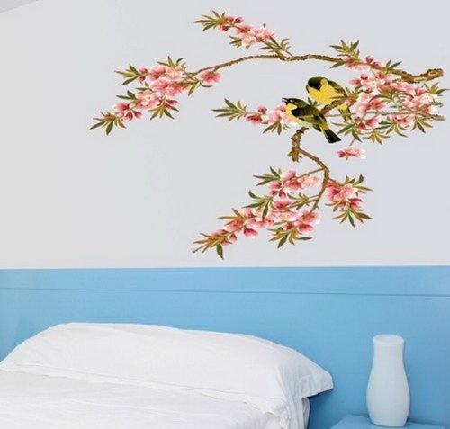 Sunnicy® Wandtattoos Süße Vögel auf einem Art Natür Blumen Baum Pflanzen Raumdekor retro Style für Sofa Wohnzimmer TV Schlafzimmer Wandaufkleber Wandsticker