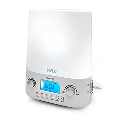 Updated Bluetooth Radio Alarm Clock | FM | Built-in Stereo Speakers | Time & Date Display | LED Light Lamp Sunrise Sunset | Deep Sleep, Relaxation & Meditation (PILCR34BT)