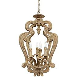 RAVENNA RUSTIC FRENCH COUNTRY DISTRESSED WOOD PENDANT