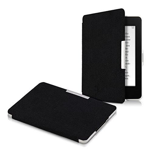 kwmobile Case for Amazon Kindle Paperwhite - Book Style Felt Fabric Protective e-Reader Cover Folio Case - black by kwmobile (Image #5)