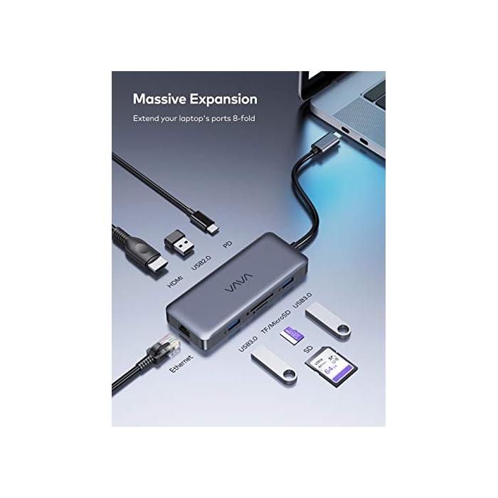 41cRQSKmJcL Haz clic aquí para comprobar si este producto es compatible con tu modelo 【Expansión de Capacidad 8 en 1 con circuito de 6 capas】: El Concentrador USB-C de VAVA cuenta con 2 x puertos USB 3.0, 1 x puerto USB 2.0, puerto de video HDMI 4K, puerto Ethernet Gigabit RJ45, ranuras de lector tarjetas SD/TF y un puerto de suministro de energía de 100W, el concentrador Hub cumple con todas las necesidades y laptops Tipo-C. ► Utilice chips de circuito de 6 capas en lugar de 4 capas para reducir el calor y hacer que la transmisión sea más estable 【Transferencia de Datos Rápida】: El puerto USB 2.0 es especialmente diseñado para la conexión a ratón y teclado inalámbricos de 2.4G evitando la interferencia de señal. ► 2 x puertos USB 3.0, 1 x ranura de tarjeta SD 3.0 y 1 x lector de tarjeta Micro SD 3.0, con una velocidad de hasta 5 Gbps, puede transferir archivos, videos y otros datos en segundos