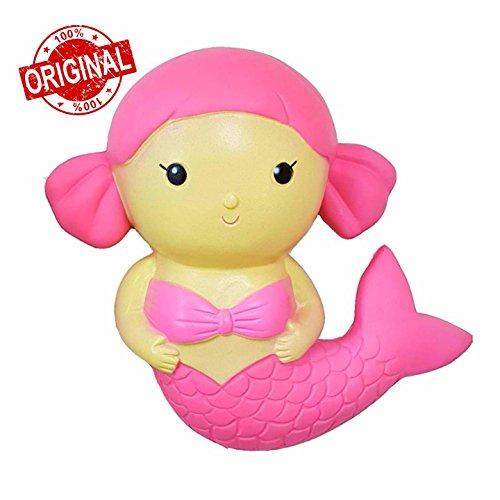 Kutzi Mutzis Jumbo Squishy Kawaii Cream Scented Squishies Slow Rising Decompression Squishy Toys Children Simulation Cute Mermaid Toy (PinkPurple) (Pink)