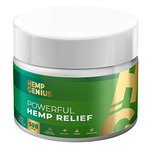 GENIUS Hemp Relief 500mg Cream The Smart Hemp Pain Relief Cream Therapy for Arthritis, Back, Knee, Hands, Neck, Feet, Muscle Soreness, Inflammation, Joints, Arnica- 2oz