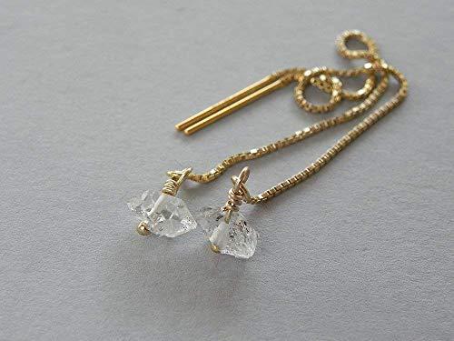 - Herkimer Diamond Gold Filled Chain Ear Threader earrings Gift For Women