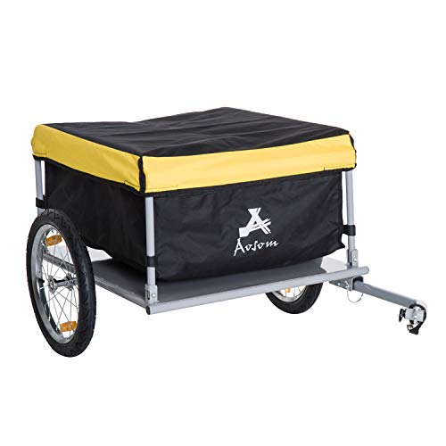 Aosom Elite Two-Wheel Bicycle Large Cargo Wagon Trailer with Oxford Fabric, Folding Storage, Removable Cover, Yellow