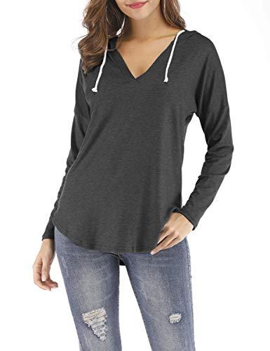(Nekosi Women's Casual Long Sleeve Hoodies Shirt Hooded Tunic Running Tops Dark Gray M)