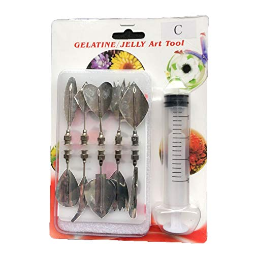 SCHOLMART Jelly Cake Tools, DIY Gelatin Art Flower, with Syringe Jello Cake Stainless Steel Tips, 10 pieces (Style: C)